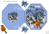 Pretty snow scene with robin and blue poinsettias hexagon fold