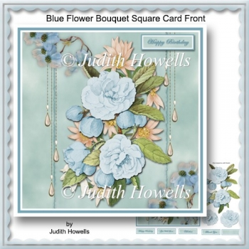 Blue Flower Bouquet Square Card Front