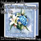 Hydrangea & Lily Art Deco Frame Decoupage Mini Kit