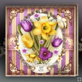 Spring Daffodils Tulips Bouquet Card Mini Kit