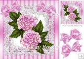 pink roses on lace with bows 8x8