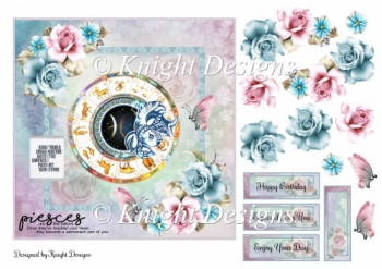 Pisces Zodiac Card Front With Decoupage