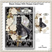 Black Dress With Roses Card Front
