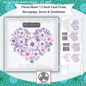 Floral Heart 7.5 Card Front, Decoupage, Insert, Sentiments No.6