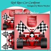 Red Race Car Cardfront with Decoupage