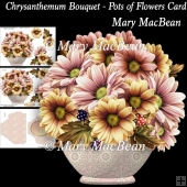Chrysanthemum Bouquet - Pots of Flowers Card
