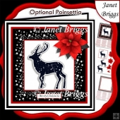 STARRY STAG & POINSETTIA Christmas or Birthday 7.5 Quick Card