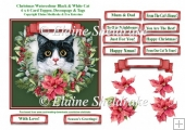 Christmas Poinsettias Watercolour Black & White Cat - 6 x 6 Card