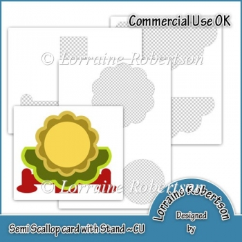 Semi Scalloped Card on Stand Template