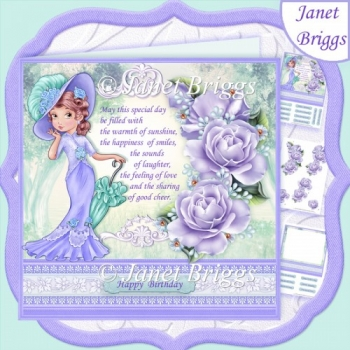 ELEGANT LADY IN LILAC ROSES & VERSE 8x8 Decoupage & Insert Kit