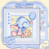 New Baby Boy Elephant 8x8 Decoupage Kit & Birthday Ages
