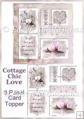 Cottage Chic LOVE 6 Panel Valentine Decoupage Topper