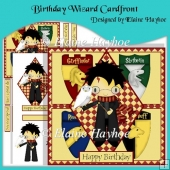 Birthday Wizard Cardfront with Decoupage