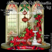 Lantern with Red Poinsettia Shaped Card Mini Kit