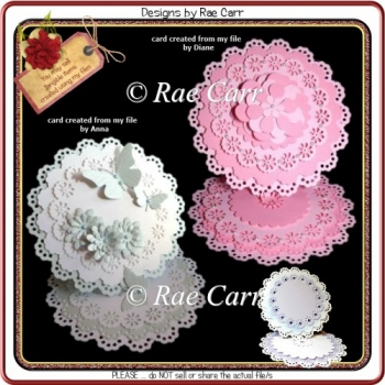 463 Fancy Scalloped Easel 1 Card *Multiple MACHINE Formats*