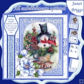 SNOWMAN IN CUP Christmas 7.8 Quick Layer or Decoupage Card Kit