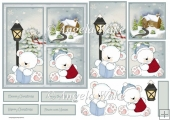 Polar bear vintage Christmas 6x6 card