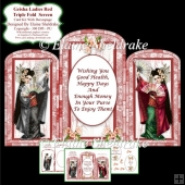 Triple Fold Geisha Red Screen - Card Kit With Decoupage