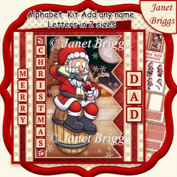 MERRY CHRISTMAS SANTA 7.5 Decoupage Kit Create Any Name Alphabet