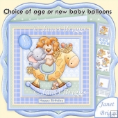 Animal Rock New Baby Boy or Birthday Decoupage Insert & Ages Kit