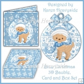 Blue Christmas 3d Bauble Card and Box Set