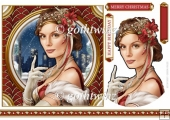 Art Deco Lady Christmas Athena 7x7 Red With Insert