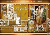 Art Deco Lady Lily Christmas 4 Sheet mini Kit Gold