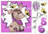cute donkey with bumble bees in purple funky star frame 8x8