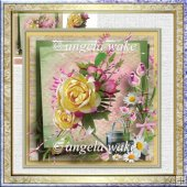 English rose and watering can card with decoupage