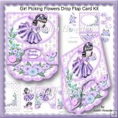 Girl Picking Flowers Drop Flap Card Kit