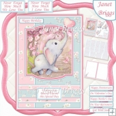 TONS OF FUN Cute Elephant A5 Decoupage & Insert Card Kit