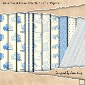 China Blue & Cream Eclectic 12 x 12 Papers
