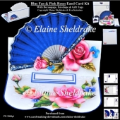 Vintage Blue Fan & Pink Roses Easel Card Kit