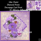 Lilac Cluster Diamond Frame Decoupage Card Front