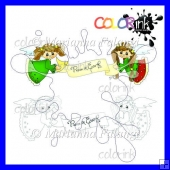 Peace on Earth angels digi stamp