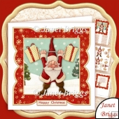 Santa in Training 7x7 Christmas Card Topper Decoupage & Insert