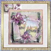 English cottage garden card with decoupage