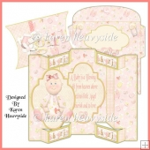 Baby Girl Tri-shutter Card And Pillow Box