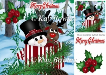 peek a boo snowman & reindeer in christmas box 8x8