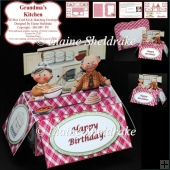 Grandma's Kitchen - 3D Pop Up Box Card Kit & Matching Envelope
