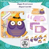 Happy H-owl-oween 3D Decoupage Shaped Halloween Card Kit