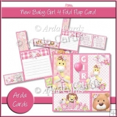 New Baby Girl 4 Fold Flap Card