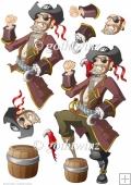 Pirate Dude Red Decoupage Sheet