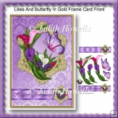 Lilies And Butterfly In Gold Frame Card Front