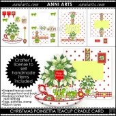 Christmas Poinsettia Teacup Cradle Card