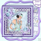 ART DECO LADY in MINT & PURPLE 7.5 Decoupage & Insert Kit