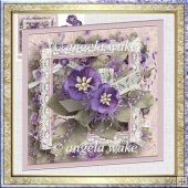 Violets 7x7 card with decoupage