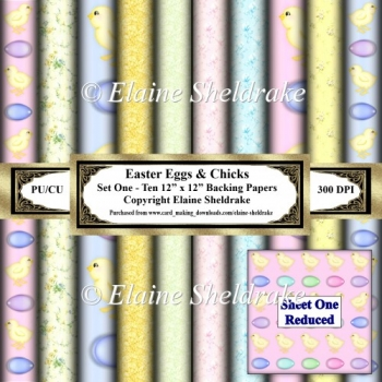 Easter Eggs & Chicks - Set One - Ten 12 x 12 Printable Papers