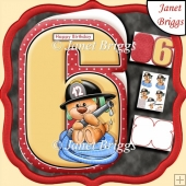 Age 6 Shaped Card Insert & Optional Fireman Ted Decoupage Kit