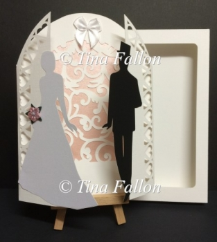 Bride and Groom Gatefold Decorative Wedding Card with box